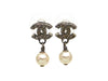 Vintage Chanel stud earrings CC logo pearl dangle