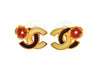 Vintage Chanel stud earrings CC logo flower