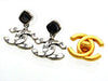 Vintage Chanel stud earrings black stone CC logo dangle