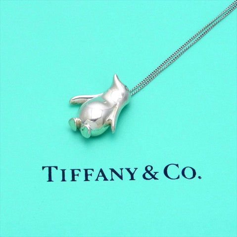 Pre-owned Tiffany & Co chain necklace pendant penguin bird