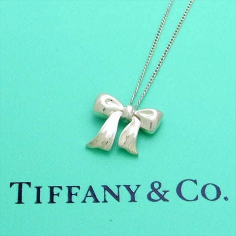 Pre-owned Tiffany & Co chain necklace pendant Ribbon bow