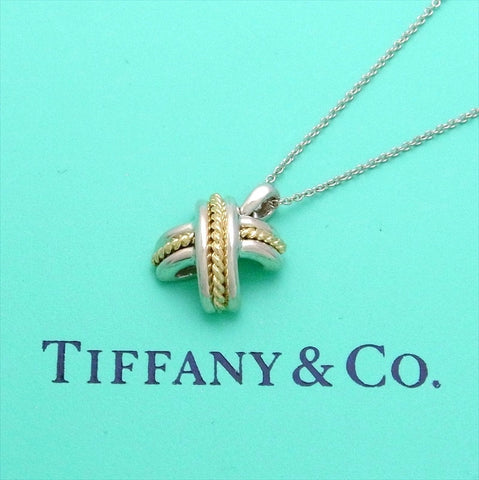 Pre-owned Tiffany & Co necklace Signature X 18K Gold
