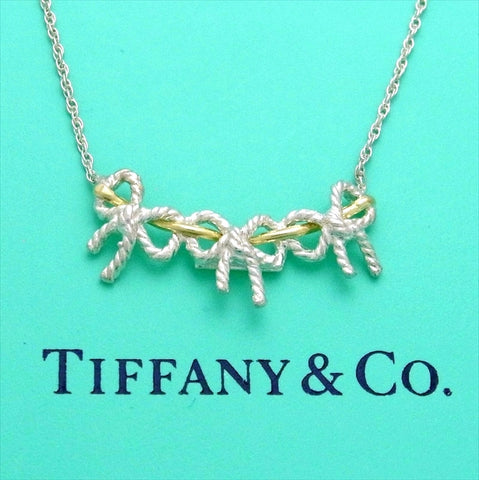 Pre-owned Tiffany & Co necklace triple ribbon 18K Gold