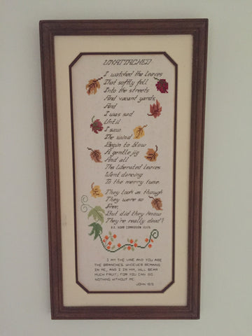 picture of leaf poem, cross-stitched