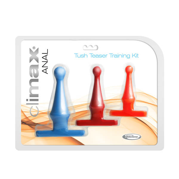 climax Anal Tush Teaser Training Kit - Coloured Butt Plugs - Set of 3 Sizes