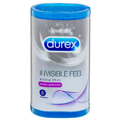 Durex Invisible Feel - Extra Lubricated - Extra Thin Condoms - 8 Pack