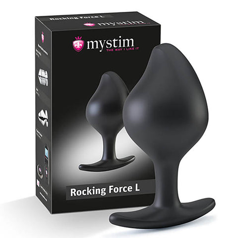 Mystim Rocking Force - Black Large Butt Plug with E-Stim