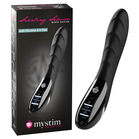 Mystim Sizzling Simon - All Black 27 cm USB Rechargeable E-Stim Vibrator