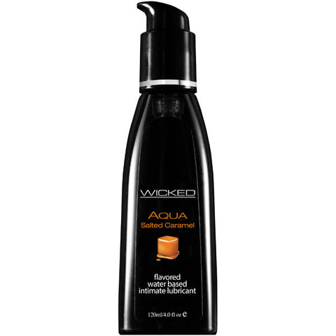 Wicked Aqua Salted Caramel - Salted Caramel Flavoured Water Based Lubricant - 120 ml (4 oz) Bottle