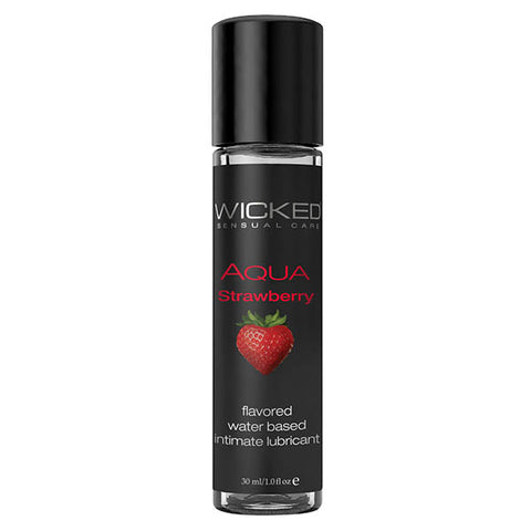 Wicked Aqua Strawberry - Strawberry Flavoured Water Based Lubricant - 30 ml (1 oz) Bottle