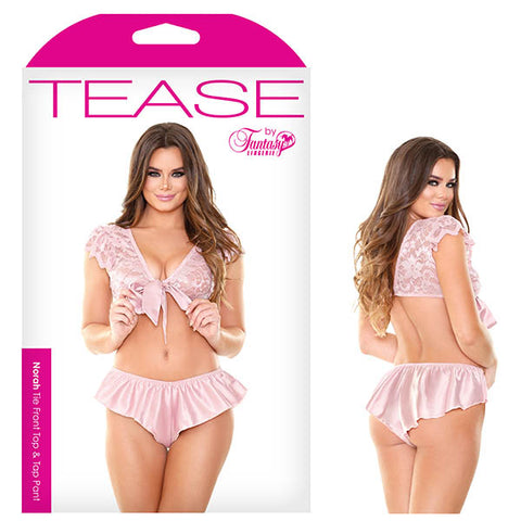 Tease Norah Tie Front Top & Tap Pant - Pink - S/M Size