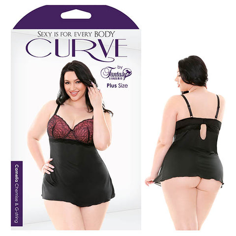 Curve Camelia Chemise & G-String - Black/Coral Pink - 1X/2X Size
