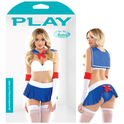 Play Sailor Luv 5 Piece Costume - Blue - S/M Size