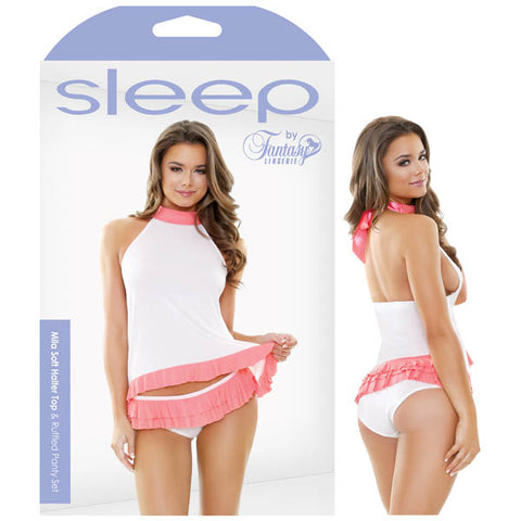 Sleep Mila Soft Halter Top & Ruffled Panty Set - Guava Pink/White - S/M Size