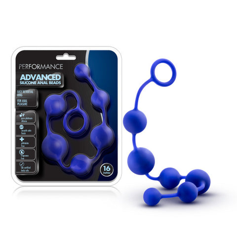 Performance 16'' Silicone Anal Beads - Indigo Blue 40 cm Anal Beads