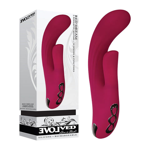 Evolved Red Dream - Burgundy Red 21 cm USB Rechargeable Rabbit Vibrator