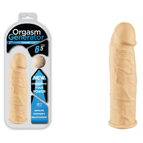 Orgasm Generator - Flesh 16.5 cm (6.5'') Vibrating Silicone Extension Sleeve