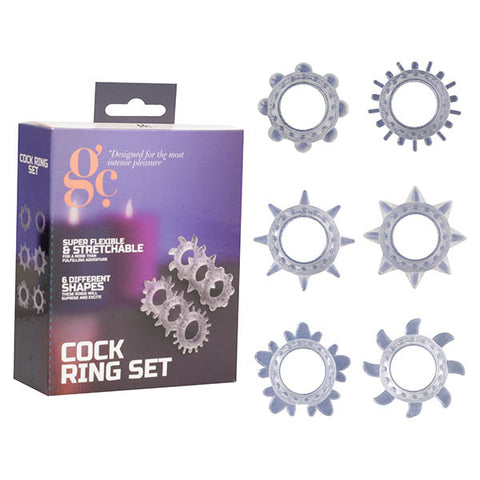 GC. Cock Ring Set - Clear Cock Rings - Set of 6