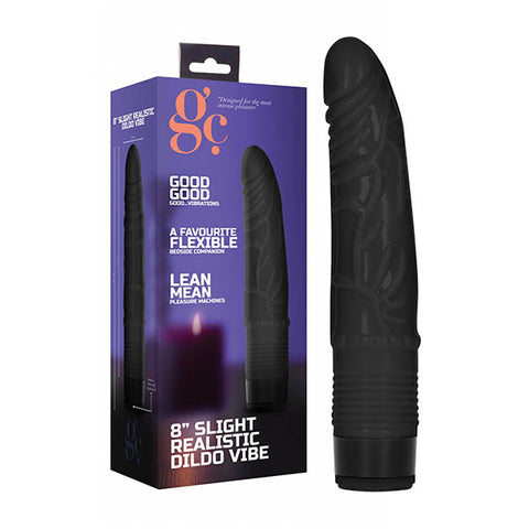 GC. 8'' Slight Realistic Dildo Vibe - Black 20.3 cm Vibrator