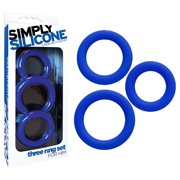 Simply Silicone - Three Ring Set For Him - Midnight Blue Cock Rings - Set of 3