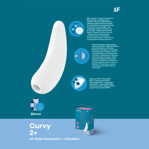 Satisfyer Curvy 2+ - App Contolled Touch-Free USB-Rechargeable Clitoral Stimulator with Vibration