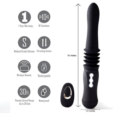 Maia Max - Black 38 cm USB Rechargeable Thrusting Vibrator