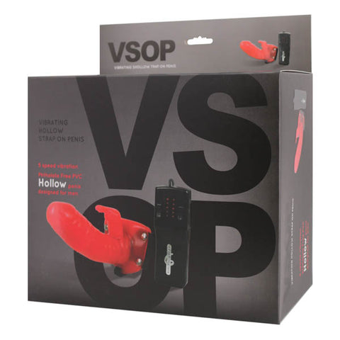 VSOP - Red 15.2 cm (6'') Vibrating Hollow Strap-On Penis