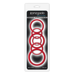 Renegade Build-A-Cage Rings - Red Cock & Ball Rings - Set of 6 Sizes
