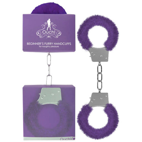Ouch Beginner's Furry Handcuffs - Purple Fluffy Restraint