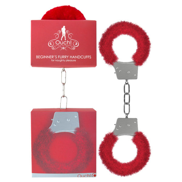 Ouch Beginner's Furry Handcuffs - Red Fluffy Restraint