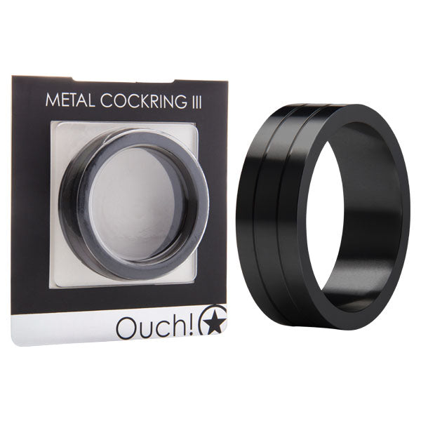 Ouch Metal Cockring Iii - Black Metal Cock Ring