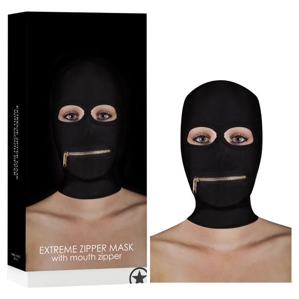 Ouch! Extreme Zipper Mask With Mouth Zipper - Black Hood