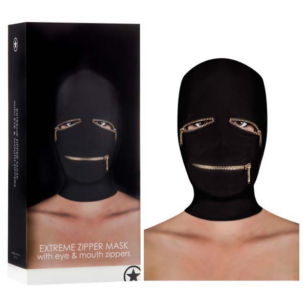 Ouch! Extreme Zipper Mask With Eye And Mouth Zipper - Black Hood