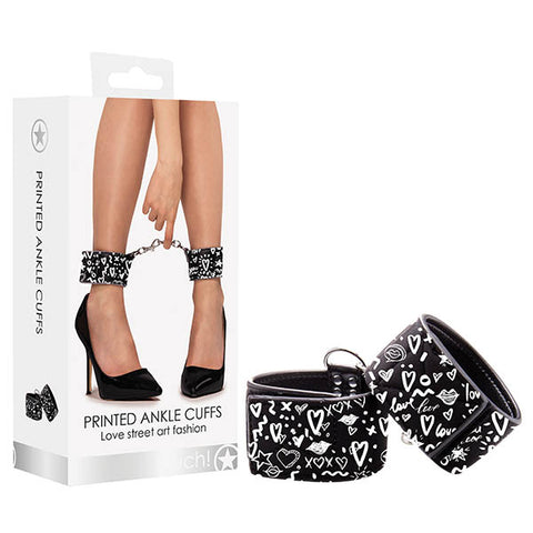 Ouch! Graffiti Ankle Cuffs - Black Restraints
