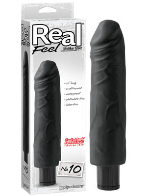 Real Feel #10 - Black 25 cm (10'') Vibrator