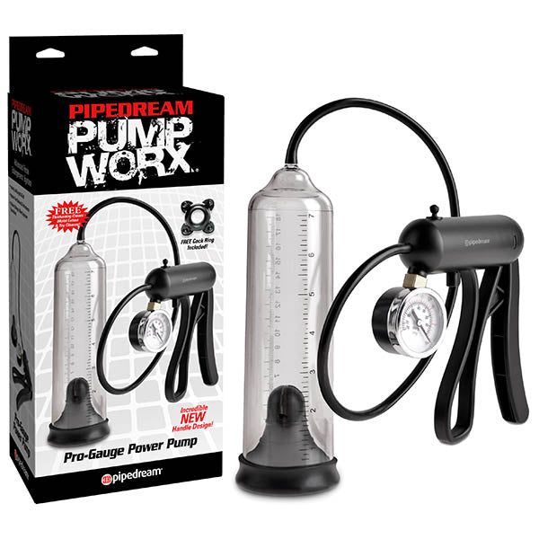 Pump Worx Pro-Gauge Power Pump - Clear Penis Pump with Hand Trigger