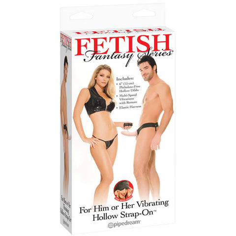 Fetish Fantasy Series Vibrating Hollow Strap-on - Flesh 15 cm (6'') Vibrating Strap-On for Her & Him