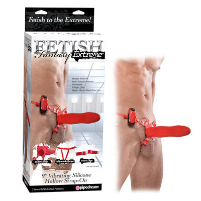 Fetish Fantasy Extreme 9'' Vibrating Silicone Hollow Strap-on - Red 9'' Vibrating Strap-On