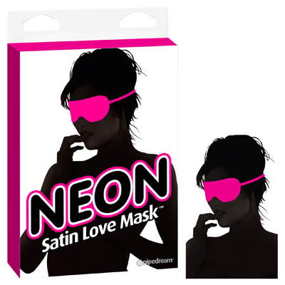 Neon Satin Love Mask - Pink Eye Mask