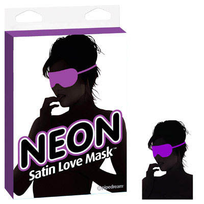 Neon Satin Love Mask - Purple Eye Mask