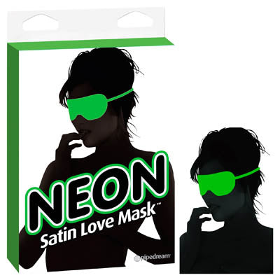 Neon Satin Love Mask - Green Eye Mask