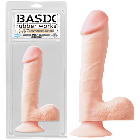 Basix Rubber Works 7.5'' Dong with Suction Cup - Flesh 19.1 cm (7.5'') Dong