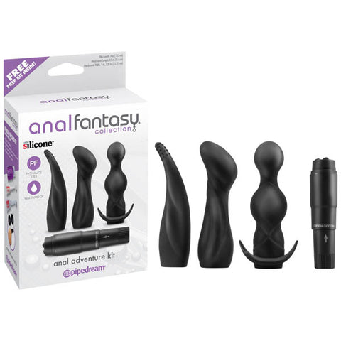 Anal Fantasy Collection Anal Adventure Kit - Black Vibrator with 3 Anal Sleeves