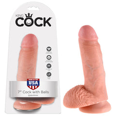 King Cock 7'' Cock With Balls - Flesh 17.8 cm (7'') Dong