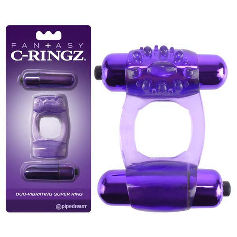 Fantasy C-Ringz Duo-Vibrating Super Ring - Purple Dual Vibrating Cock Ring
