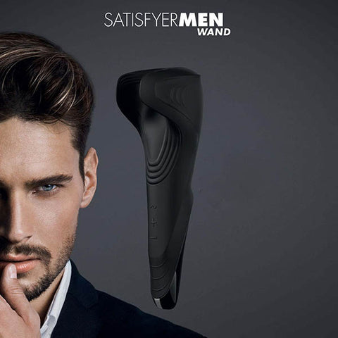 Satisfyer Men Wand - Black USB Rechargeable Vibrating Masturbator Wand