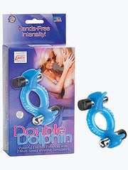Double Dolphin - Blue Vibrating Cock Ring