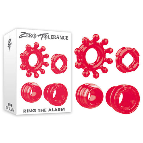Zero Tolerance Ring The Alarm - Red Cock Rings - Set of 4