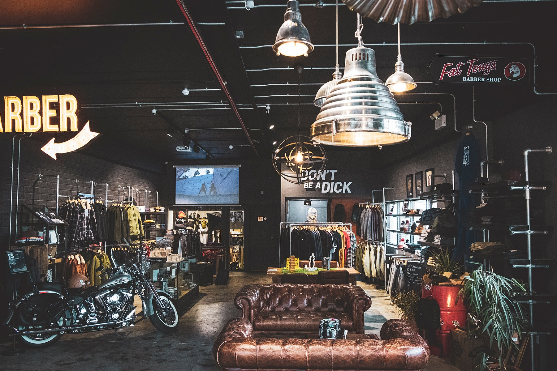 The Lifestyle store with comfy couches and motorbikes.
