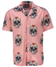 Dickies Pink Short Sleeve Shirt with sculls on